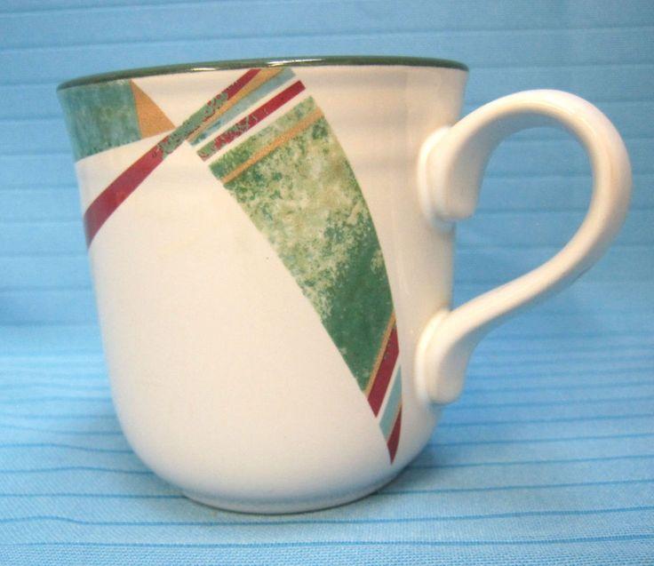 Noritake Stoneware New West #8696 Coffee Tea Cup Mug Southwestern Pattern Green #Noritake #ArtDeco