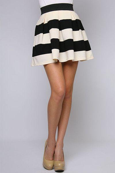 black and white striped skirt