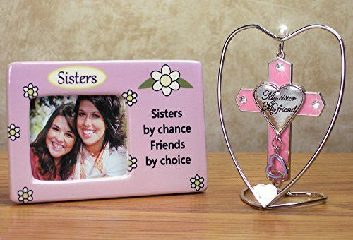 Sisters Picture Frame & Hanging Cross Ornament Set