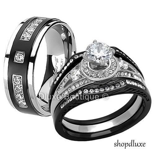 HIS HERS 4 PC BLACK STAINLESS STEEL & TITANIUM WEDDING ENGAGEMENT RING BAND SET   Jewelry & Watches, Engagement & Wedding, Engagement/Wedding Ring Sets   eBay!