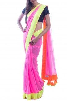 Green & Pink Neon Saree