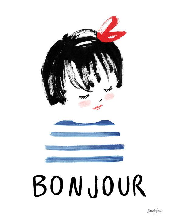 """A friendly hello in French. Coordinates with Salut and can be purchased separately or in a pair. This fine art print is created from a hand drawn & watercolored illustration signed by Sarah Jane inspired. Each illustration is printed with a giclée fine art printing process on archival museum quality paper. - Available in 5x7, 8x10"""", 11x14"""", 16x20"""" - Printed locally in the USA - Ships flat (up to size 11x14) or rolled (16x20) - We ship worldwide (Check your countrys customs office for add..."""