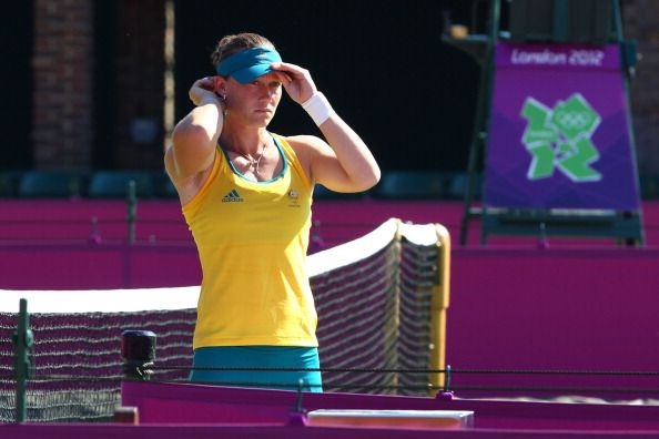 Samantha Stosur of Australia looks on during a practice session ahead of the 2012 London Olympic Games at the All England Lawn Tennis and Croquet Club in Wimbledon on July 24, 2012 in London, England