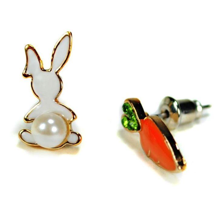 RABBIT & CARROT EARRINGS Post Pair Enamel Bunny Jewelry Faux Pearl Rhinestone