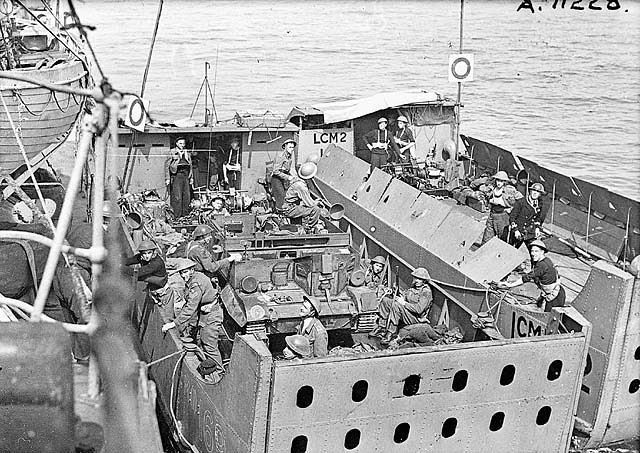 in landing craft prior to raid on Dieppe.