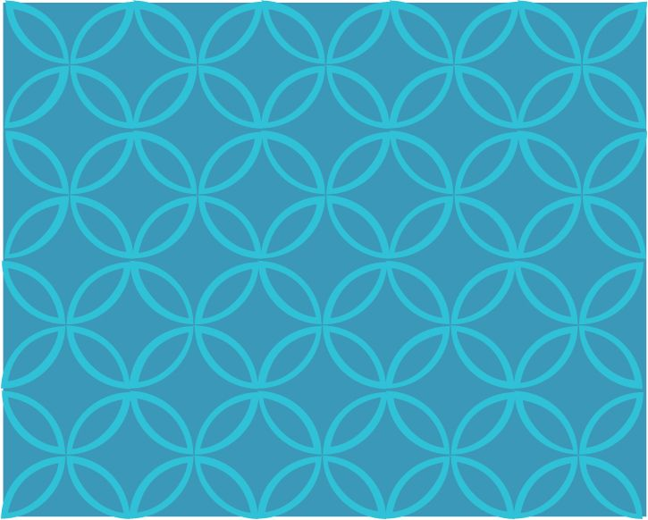 Intersecting Circles - Sea Blue and Turquoise
