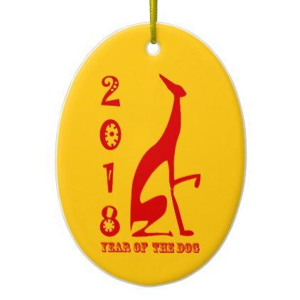 2018 Chinese New Year Dog Red Greyhound Stylish Ceramic Ornament - home gifts ideas decor special unique custom individual customized individualized
