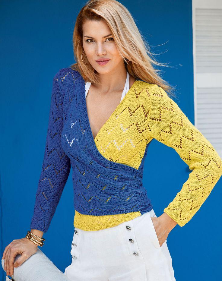 Двухцветный пуловер с запахом