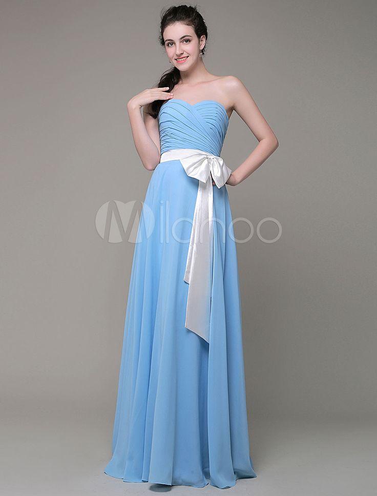 Demoiselle d'honneur du sweatheart robe a-ligne mousseline de soie plissée longueur étage Sash Bow