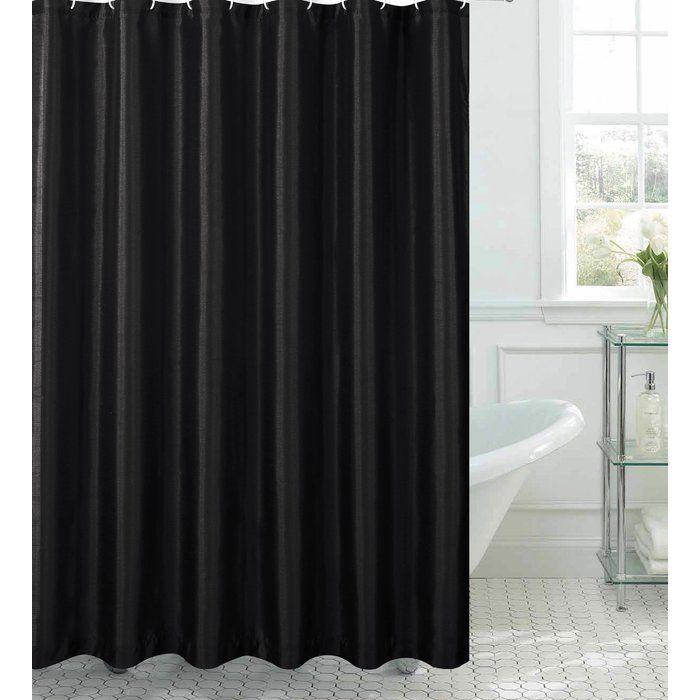 Samar Faux Silk Shower Curtain Set Black Shower Curtains Shower