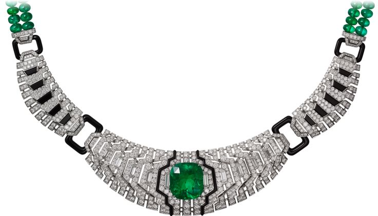 CARTIER. Necklace - platinum, one 14.70-carat cushion-cut emerald from Colombia, emerald beads, onyx, taper diamonds, brilliant-cut diamonds. #Cartier #CartierMagicien #HauteJoaillerie #FineJewelry #Emerald #Diamond