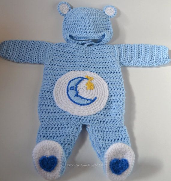 Handmade crocheted care bear romper and matching hat. Great for Halloween and cool weather.