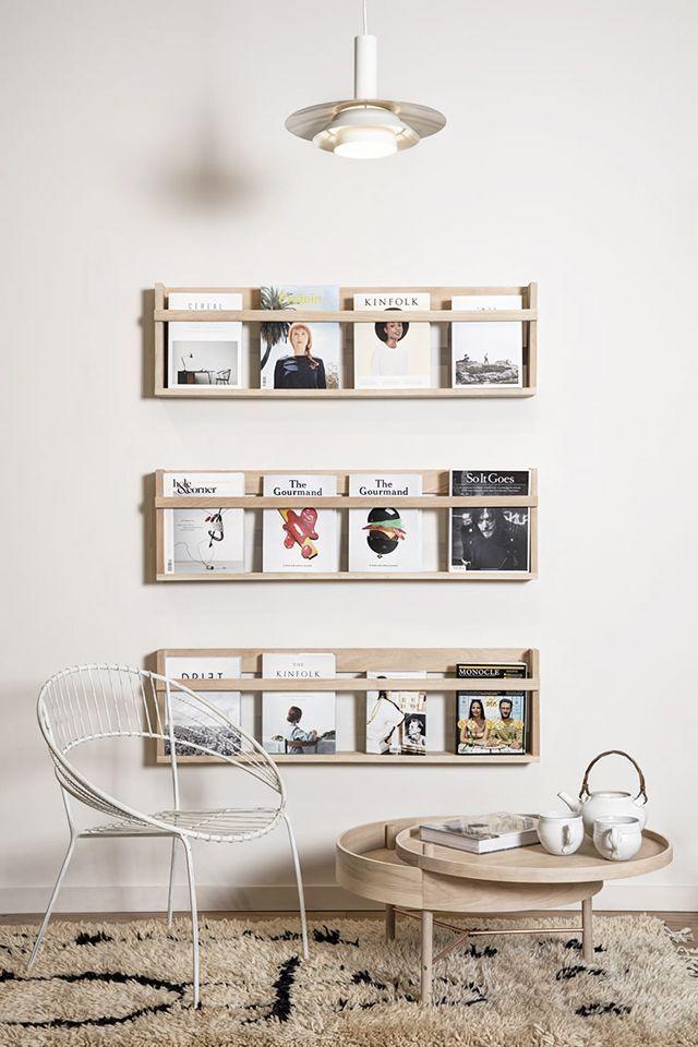 wooden magazine organization.