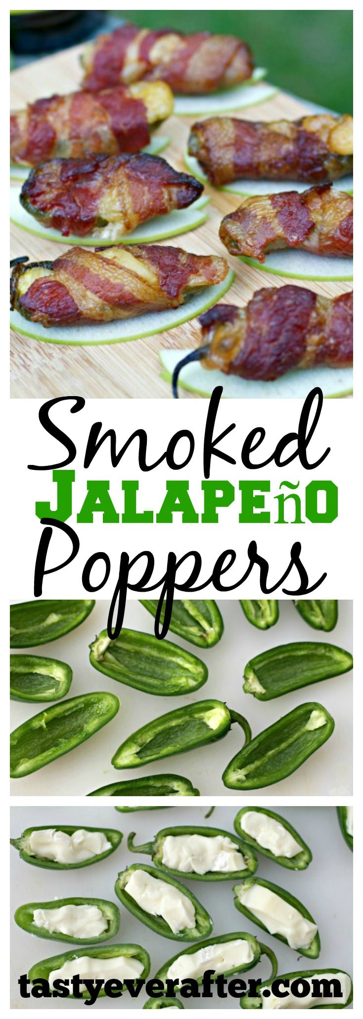 This recipe is so easy! Fresh jalapenos stuffed with brie, wrapped in bacon, and served on a thin crisp fresh green apple slice.
