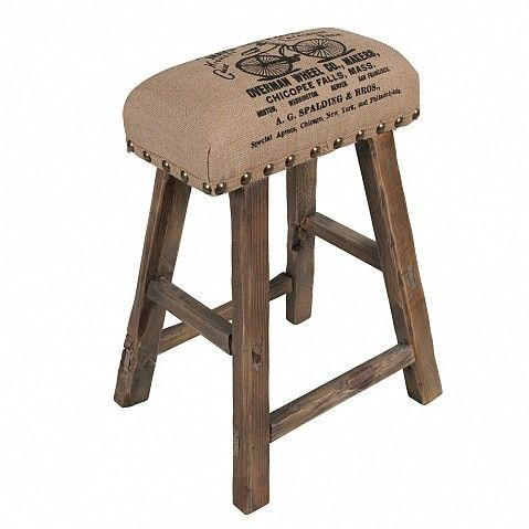 Rustic milk maids stool with upholstered seat - Trade Secret
