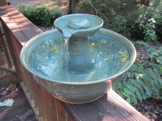 Ceramic Cat Drinking Fountain, Indoor Pet Water Feature, Handmade Wheel Thrown Pottery, Arctic Blue and Tormaline Glaze