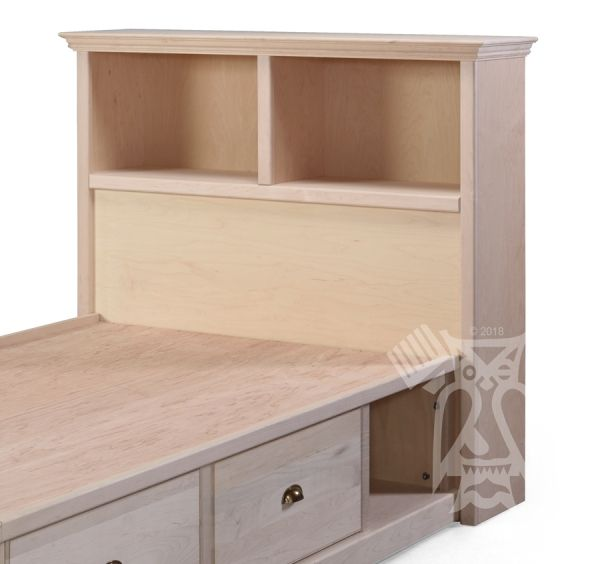 Custom Built Unfinished Maple Wood Twin Roma Bookcase Headboard Choose Size And Style Bed Extra Bookcase Headboard Furniture Real Wood Furniture