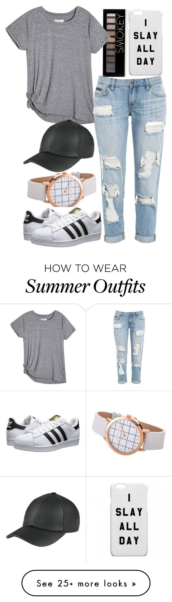 """""""Casual SPring/Summer outfit"""" by beautyandstylefox on Polyvore featuring Forever 21, adidas Originals, adidas, hat, watch, SmokeyEye and slay"""