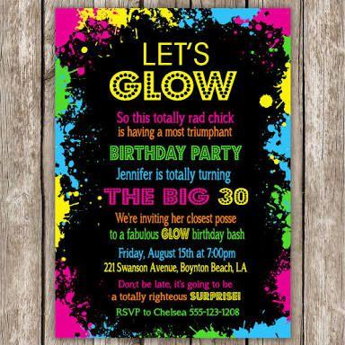 glow in the dark party invitation ideas - Google Search ...
