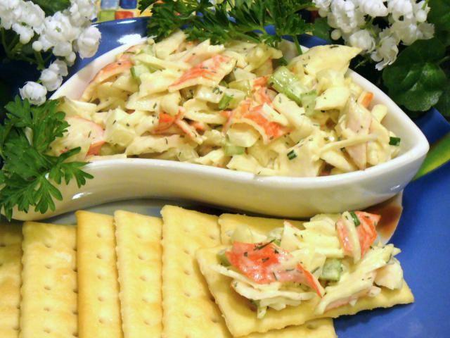 Imitation Crab Seafood Salad Recipe. Serve imitation crab salad as a salad topper, sandwich spread, chunky dip, or appetizer cracker topper.