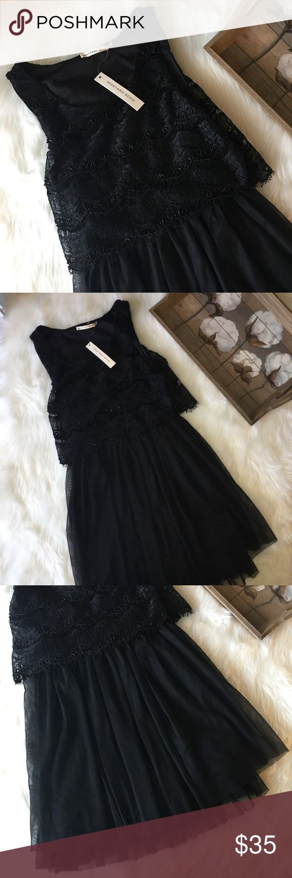 Mustard Seed Black Tulle Beaded Dress Sz S Stunning black Beaded top and Tulle bottom black Mustard Seed Dress in excellent brand new with tags condition' Mustard Seed Dresses