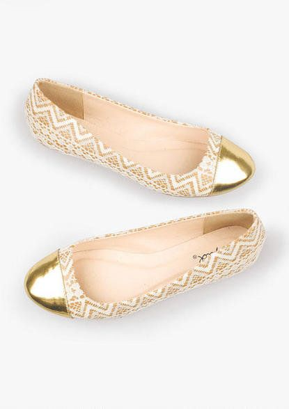 Gold and chevron flats