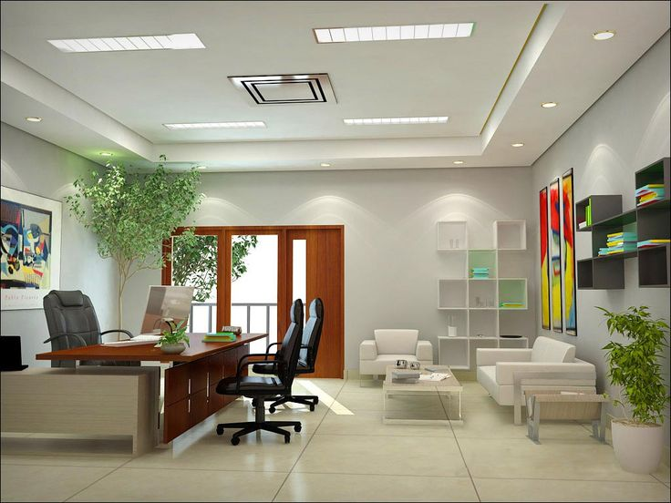 White Themed Cool Home Office Design With Modern Brown Wood Office Desk On  The White Tiles