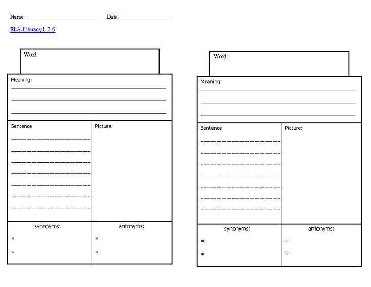 Vocabulary knowledge template ela literacy l 7 6 language for Vocabulary words worksheet template