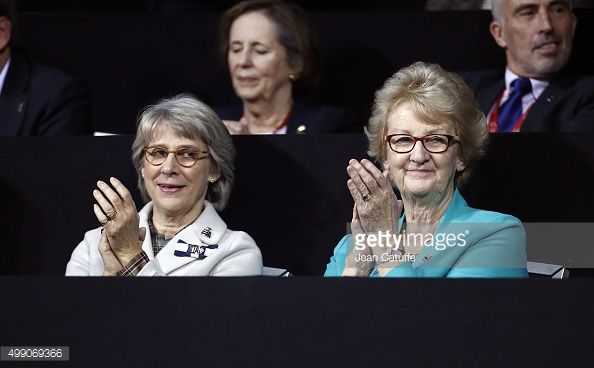 Birgitte Duchess of Gloucester and President of LTA Cathie Sabin attend the doubles match during day two of the Davis Cup Final 2015 between Belgium...