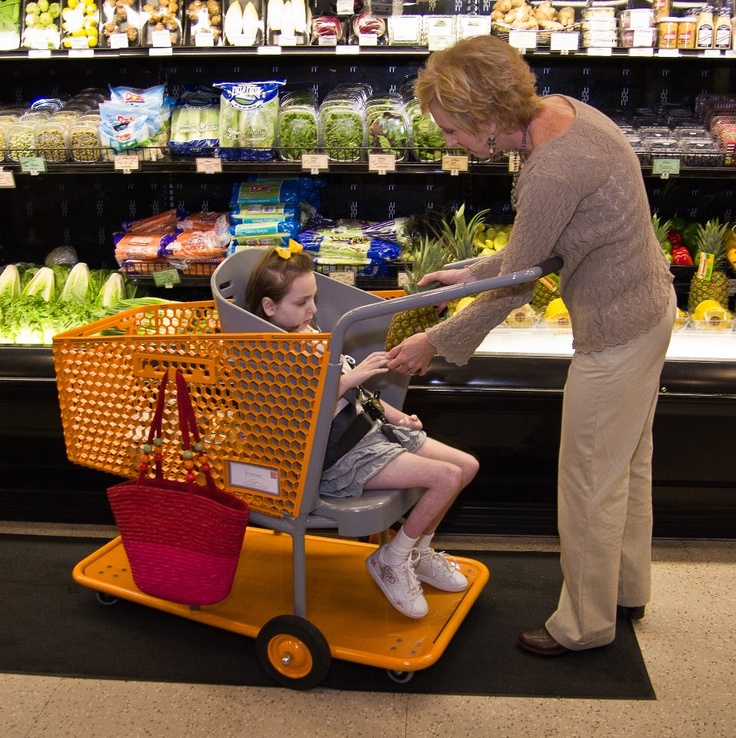 "Drew Ann Long wasn't able to shop with her special needs daughter Caroline because grocery carts for the disabled were not available. So she invented one called ""Caroline's Cart.""  Need one for Miss Priss"