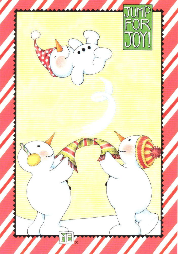 Mary Engelbreit-JUMP FOR JOY Snowman-Christmas Card-NEW w/white envelope