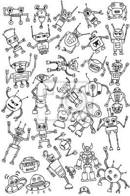 Papier peint la main tirage robots icône vecteur de collecte