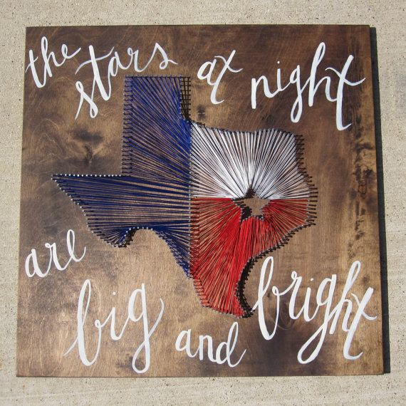 "Texas String Wall Art with Custom Calligraphy ""The Stars at Night are Big and Bright"""