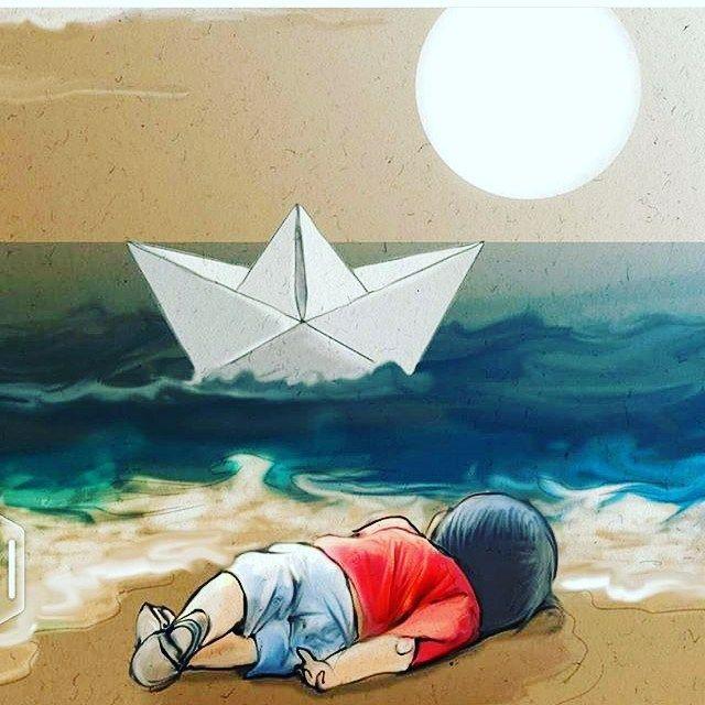 """Ben bir anne değilim çocuğum da yok... Öyle bir acıya şahit ettin ki bizleri fotoğrafını gördükçe içimden bir parça daha kopuyor... Yutkunarak bakıyorum sana...Utanacak yüzler sadece """"şiddetle kınamakla"""" yetinen """"büyük""""lerin sefasını sürdükçe bu dram hiç bitmeyecek masum yavrum  Rabbim mazlumların yanında olsun #suriye#syria#çocuk#mülteci#aylanbebek#buacıhepimizin#kanayanyara#mülteciçocuklar#children by macaryeliz #masiva http://masiva.org"""