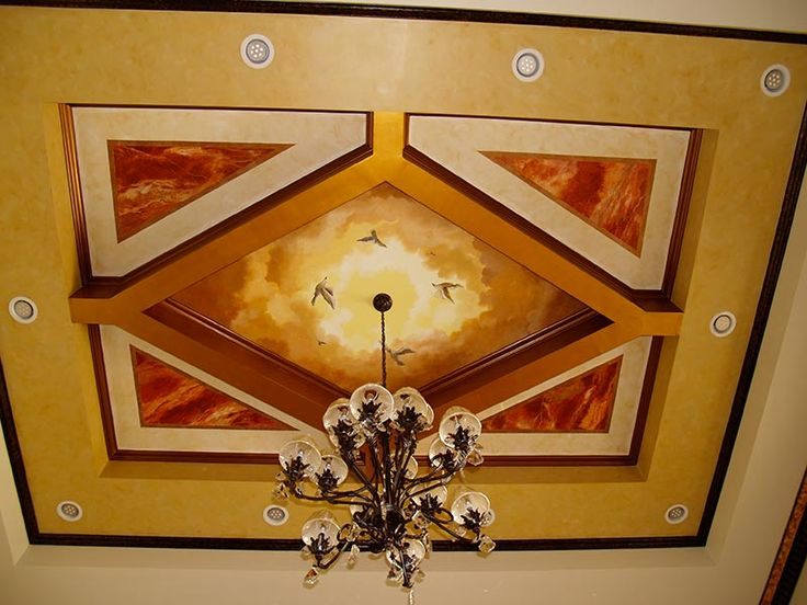 Amazing Ceiling Mural And Designs Made For A Family Room.