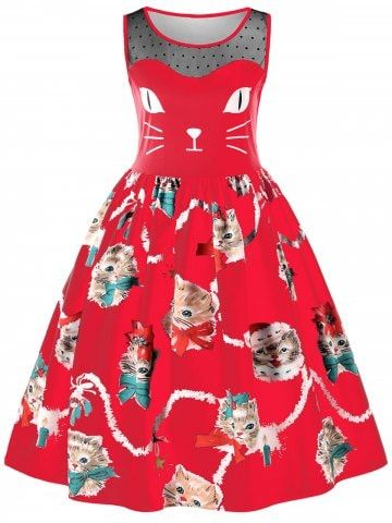 037fc4b3ccad Shop for RED M Sleeveless Kitten Print Swing Dress online at $23.67 and  discover fashion at