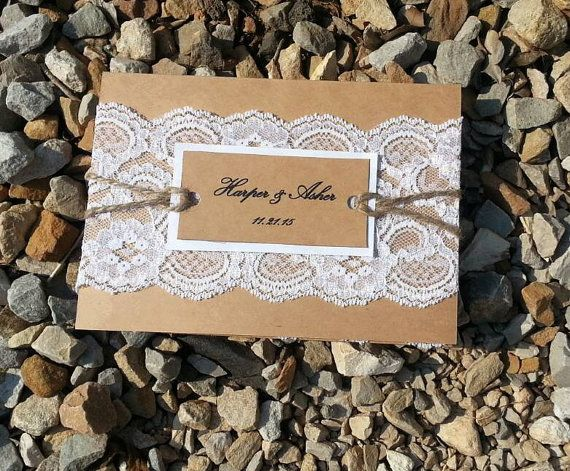 Harper: burlap and lace themed pocket fold wedding invitation with twine rope fall wedding winter wedding brown white lace romantic invite