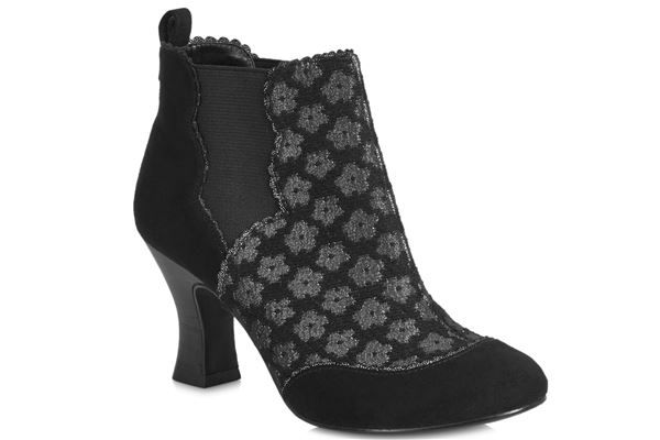 RUBY SHOO SAMMY ANKLE BOOTS BLACK SUEDE
