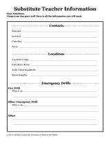 Substitute Teacher Information Sheets http://www ...