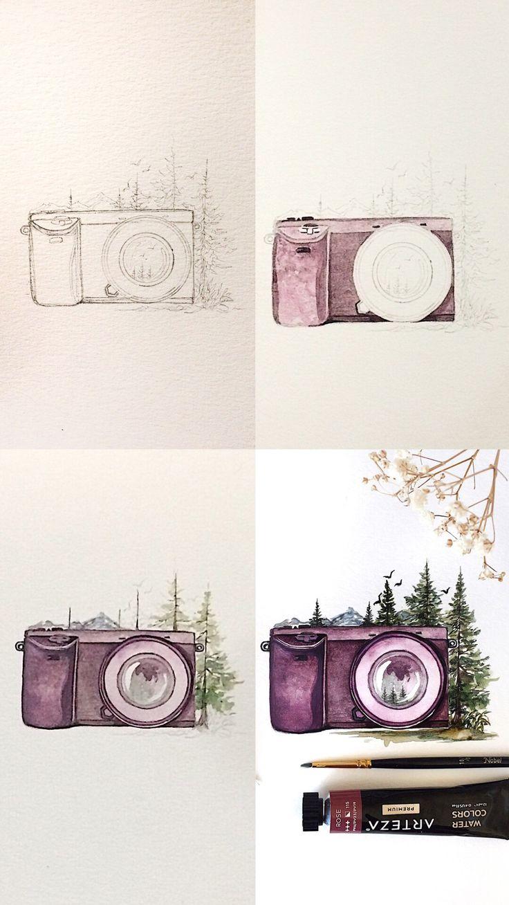 Purple Watercolor Camera illustration  – Koneko-chan