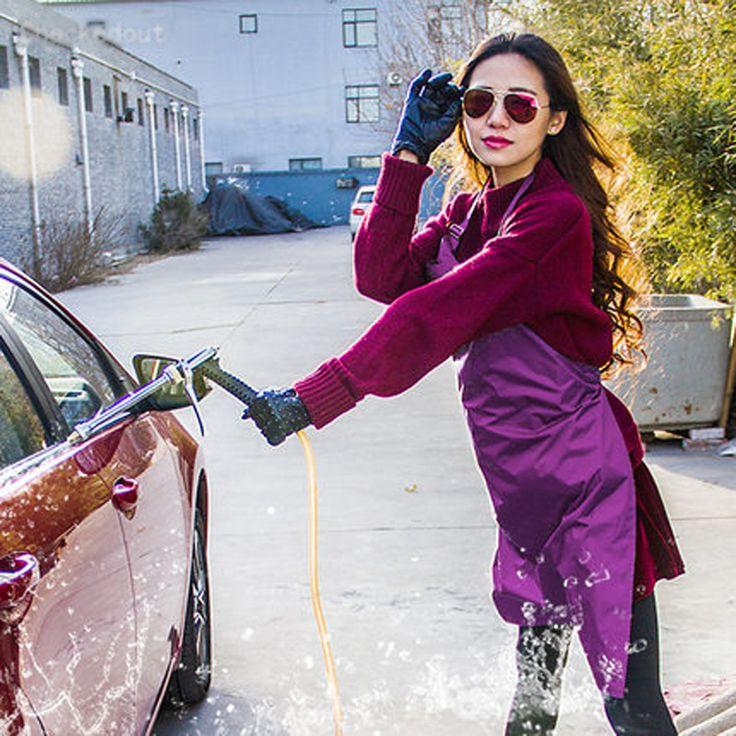New PVC Apron For Women Men Car Wash Waterproof Apron Kichen Cooking Chef Aprons Korean Fashion Red Blue White Multiple Colour