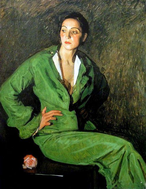 Figura femenina en verde (1933) by José María Rodríguez Acosta (Spanish 1878-1941)