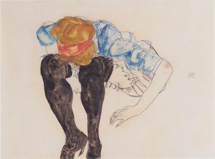 Blonde vorgebeugtmit schwarzen Strüpfen - 1912