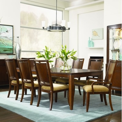 Legacy Classic Furniture Skyline Rectangular Leg 9 Piece Dining Table Set  In Distressed Warm Chestnut Brown