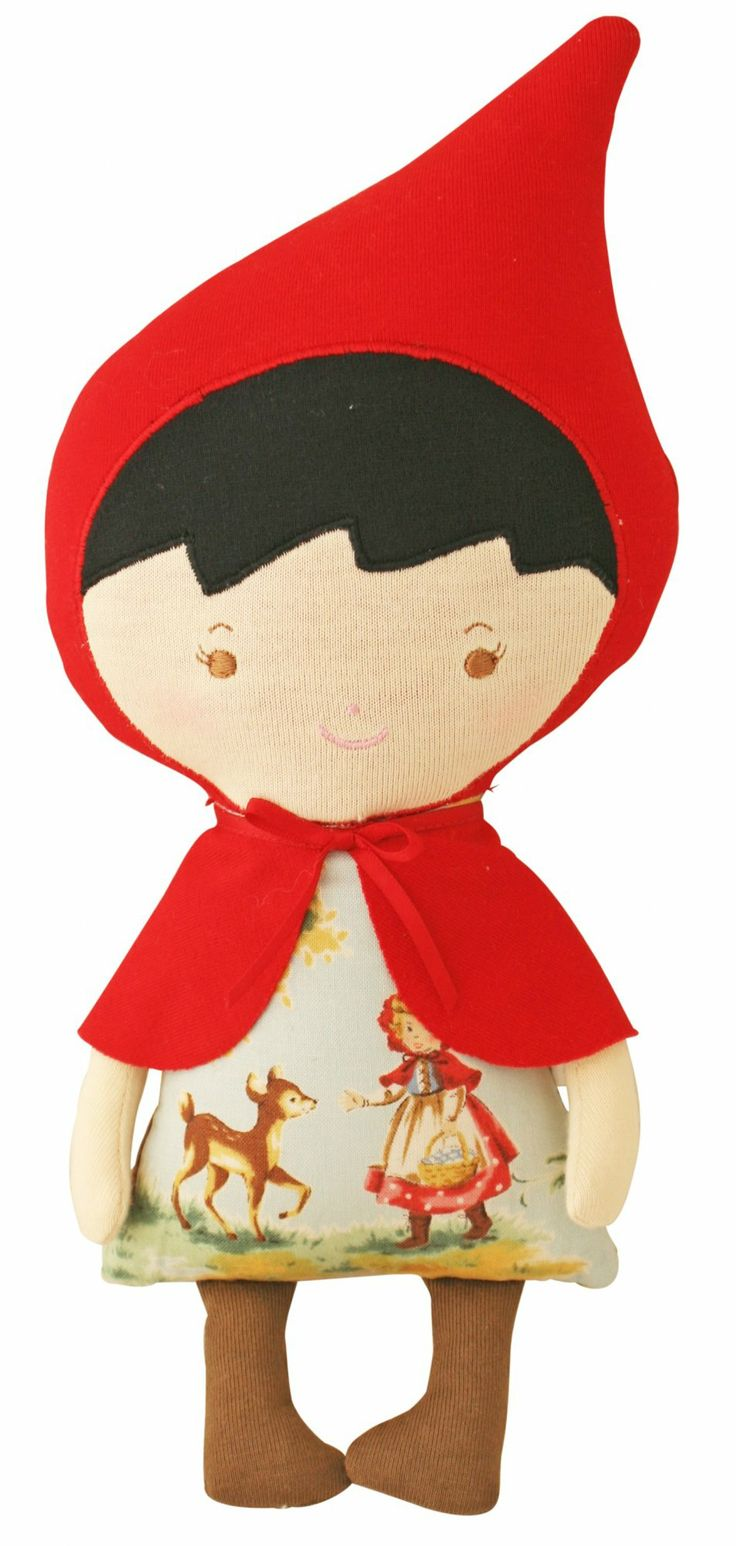 Designer girl gifts online - Alimrose Designs Lil Red Doll - $29.95 - Adorable lil' Red Riding Hood Doll by Alimrose Designs!  Standing at 29cm tall complete with cape and vintage inspired print dress - this handcrafted doll is guaranteed to become a treasured favorite.  Softness of this gorgeous doll makes it the perfect new baby gift as well! Designer girl gifts online - Alimrose