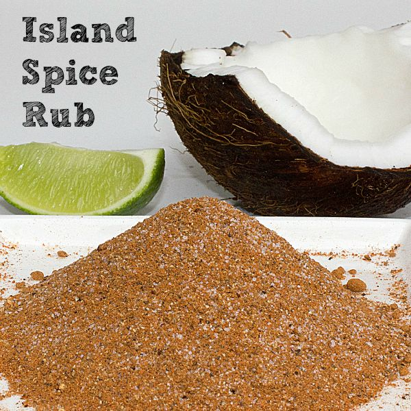 Island Spice Rub..brings together some flavour notes that are well known in the Caribbean islands. Tasting quite similar to a jerk seasoning, this Island Spice Rub has the wonderful spice combination of allspice, nutmeg, cinnamon and ground cloves. To give it a welcomed punch is a healthy dose of ground black and cayenne pepper. Garlic, ginger, salt and sugar pull all the seasonings together to make this fabulous rub.