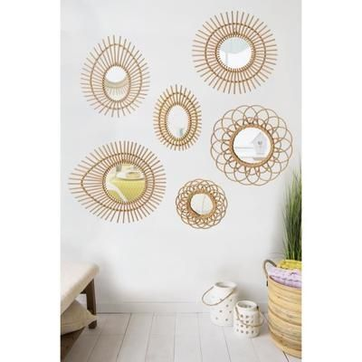 SUNNY Miroir en rotin de forme ovale Ø47x58 cm beige - Achat / Vente miroir Rotin - Cdiscount