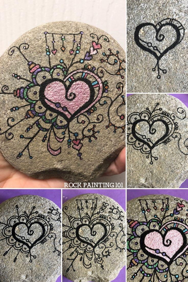 Zendangle heart painted rock. A fun technique for rock painting! #zendangle #zendanglerock #zendangleheart #dangleart #heartpaintedrock #rockpainting #stonepainting #rockpainting101