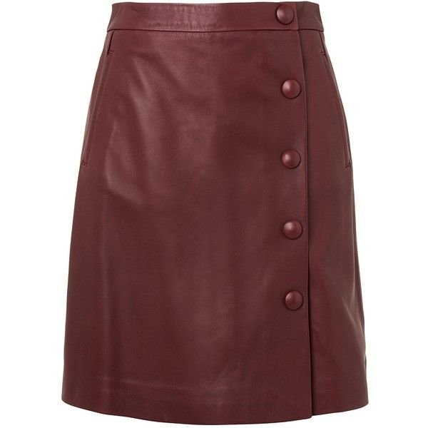Diane Truffle Leather Skirt ❤ liked on Polyvore featuring skirts, red leather skirt, real leather skirt, leather skirts, knee length leather skirt and red skirts