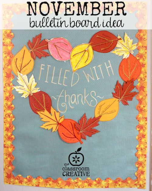 A fun November bulletin board. It also includes 3 free leaf templates! #gratitude #thanksgiving #november